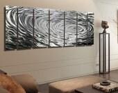 Silver Modern Metal Wall Art - Contemporary Metal Wall Sculpture - Large Metallic Wall Hanging - Home Decor - Ripple Effect XL by Jon Allen