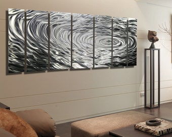 Silver Modern Metal Wall Art - Contemporary Metal Wall Sculpture - Large Metallic Wall Hanging - Home Decor - Ripple Effect XL by Jon Allen