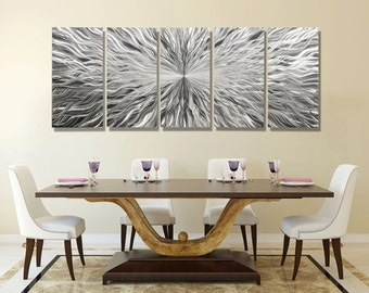 Oversized Silver Abstract Metal Wall Sculpture, Multi Panel Metal Wall Art, Extra Large Modern Metal Wall Decor - Vortex 5P XL by Jon allen