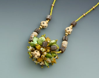 Fringe Necklace Bead Collector Series: W13. Glass beads, pearls, wood.
