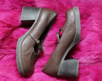 Vintage 90s Chunky Brown Mary-Jane Loafers - Size 7
