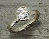 Moissanite and White Gold Engagement Ring, Forever Brilliant, Recycled 14k White Gold, Alternative Wedding, Bezel Setting, Made to Order