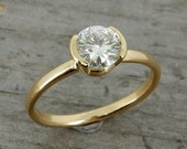 Moissanite Engagement Ring - Forever Brilliant Moissanite and Recycled 14k Yellow Gold - Eco-Friendly, Diamond Alternative - Made To Order