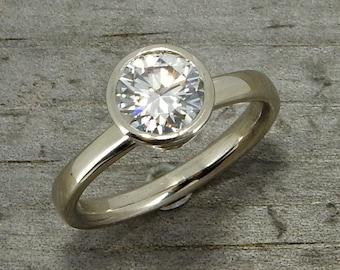 Moissanite and White Gold Engagement Ring, Forever One G-H-I, Recycled 14k White Gold, Alternative Wedding, Bezel Setting, Made to Order