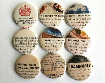 Random Vintage Ad Lines Button Magnets novelty gift 57 New Yorker Magazine party favors fridge magnets OOAK Bit of Britain set #106