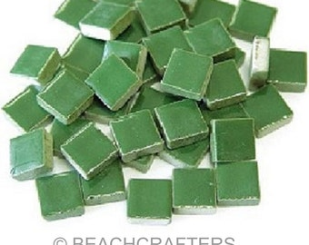 50 - 3/8 inch Green Ceramic Mosaic Tiles