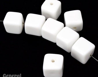 9mm White Cube Bead (12 Pcs) #4045