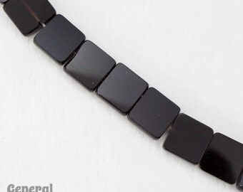 8mm Opaque Black Flat Square Bead Strand (52 Pcs) #4190