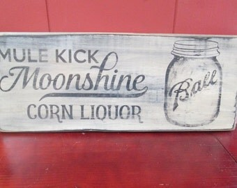 Primitive Moonshine Wood Sign Corn Liquor Man Cave Bar Decor Wall Decor Mason Jar