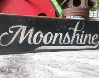 Primitive Wood Sign MoonShine Man Cave Bar Saloon Rustic Cabin Decor Handmade