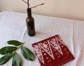 rust red spires flour sack  tea towel