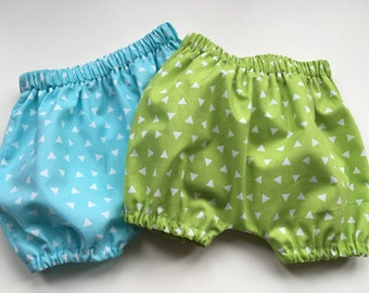 Baby BLOOMERS BUBBLE SHORTS - Baby Shorts - Unisex Baby Bloomers -Tossed Triangles - Aqua or Lime - Girl or Boy - Sizes 3 months - 3 yrs.