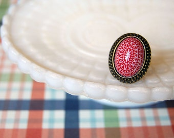 Scandinavian Red and White mosaic ring- antiqued brass- winter style