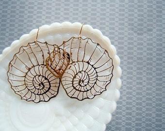 light weight nautilus earrings- seashells- snail- laser cut raw brass