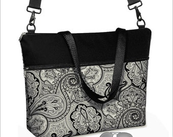 17 inch Laptop Bag with long cross body strap / Paisley Laptop Tote Bag / Women's Briefcase / Pockets,  Zipper black white gray  MTO