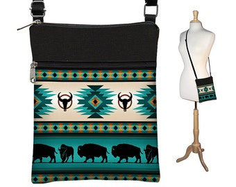 Clearance  Small Cross Body Bag, Shoulder Bag Purse, Zipper Pocket, Southwestern Fabric, Tribal  Ethnic Buffalo, turquoise blue, black  RTS