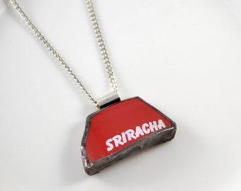 Broken China Jewelry Pendant - Red Sriracha
