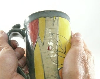 Large unique coffee mugs, Handmade ceramic teacup , ceramic coffee cup or tea mug, pottery mug, clay cup pottery and ceramics,  531