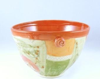 Large Red Ceramic Serving Bowl Art Vessel - kitchen serving dish - Family Salad Bowl - Decorative Kitchen Dinnerware