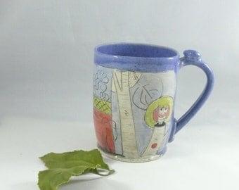 Unique Coffee Mugs - Handmade ceramic cup pottery and ceramics,  beer mug, stein, tankard - latte cup - pottery mug  travel mug - WM311