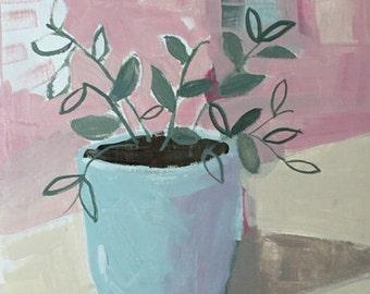 contemporary art, modern art, plant painting, original acrylic painting pamela munger muted colors