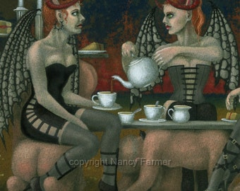 SALE! - 'The Devil's Tea Party' - fantasy fetish art print