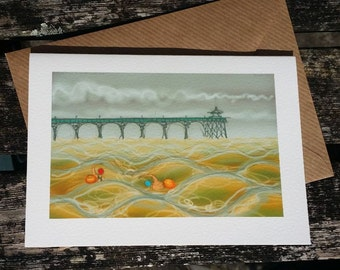 greetings card: 'To Ladye Bay and Back' - art card, open water swimming, sea swimming, Clevedon Pier