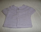 Lavender Baby Sweater. Hand Knit Lavender Sweater, Baby Sweater,Pale Lavender, Short Sleeve Preemie, New Born, Small Doll Sweater