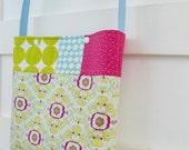 Modern Girls patchwork Purse Tote Bag - Green Aqua Pink Floral and Polka Dot
