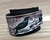 Leather Cuff Unisex Wrap, Raven Digital Photo Print on 100% Genuine Leather * SALE * Coupon Codes