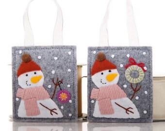 Felt Ornaments, Felt Advent Calendar Gifts, Handmade Snowmen, Christmas Snowman Ornaments, Holiday Decorations, Package Decorations, CIJ