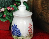 Ceramic Thrown Pottery Canister Style Soap Dispenser Texas Bluebonnet Wildflowers Hand Painted Original Design Made in Texas Hill Country