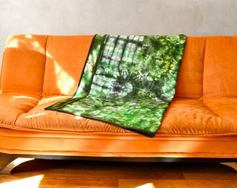Hand Dyed Wool Throw Blanket Small Size / Eco Natural Dye 100% Wool / Luscious Greens