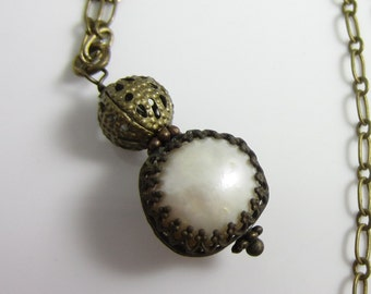 Freshwater Pearl Drop in Antiqued Brass Necklace
