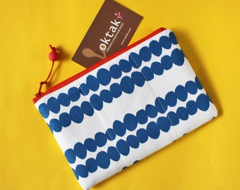 Zipper pouch blue dots on white red zipper modern simple geometric yellow marine blue makeup bag padded pouch