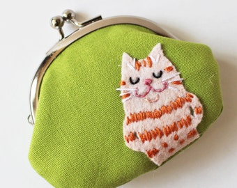 Cat coin purse ginger tabby cat green kiss lock coin purse change purse moss green orange cat cat lover cat purse bossy cat quirky children