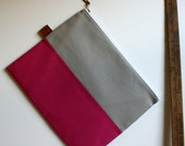 over sized large zipper pouch - smokey + hot pink