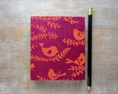 Travel Journal Orange Birds - unlined handtorn pages - Ready To Ship