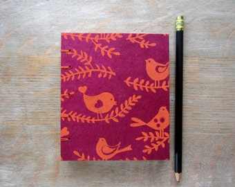Notebook Orange Birds, unlined handtorn pages, Ready To Ship