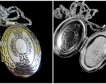Perfectly Unisex - Vintage Silver Plated Oval Locket Necklace