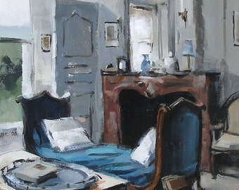 Art Print Blue Interior 9x12 on 11x14 - Blue Chaise by David Lloyd