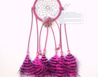 Hot Pink Dream Catcher, Stenciled Turkey Feathers