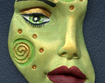 Polymer Clay One of a kind textured Abstract Face Shard  SHD 3G