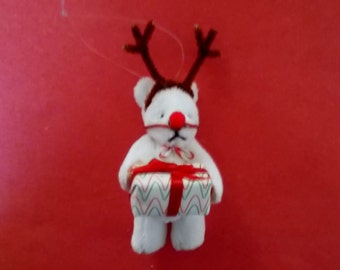 Rudolph the Red Nosed Reindeer Miniature Bear Ornament Cute Sweet Bear Christmas Tree Ornament or Collectible