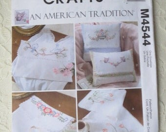 McCall's M4544 Crafts Vintage Style Embroidered Items Dresser Scarf, Pouches, Pillows Sewing Pattern An American Tradition