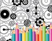 Color page - Zen style - Steampunk cogs