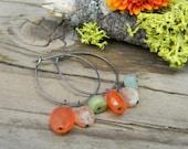 rustic silver hoops with carnelian, peruvian opal and sunstone - earrings - oxidized
