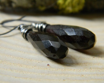 SALE - dark chocolate brown chalcedony drops - rustic silver and gemstones