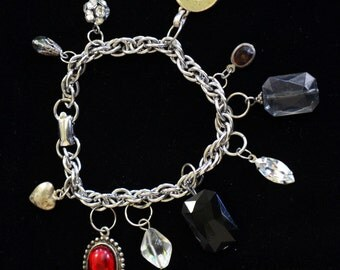 charm bracelet with upcycled jewelry
