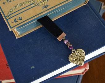 black velvet book mark with upcycled jewelry, purple and gold